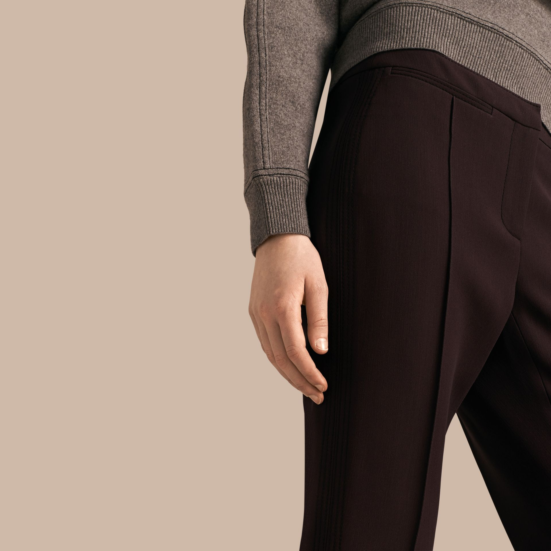 Dark elderberry Wool Silk Straight Leg Trousers Dark Elderberry - gallery image 5
