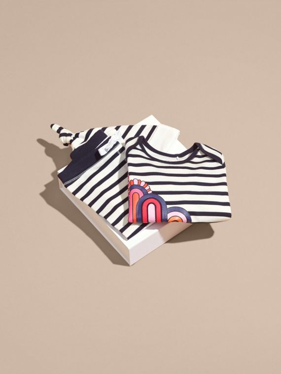 Striped Cotton Three-piece Baby Gift Set - cell image 3