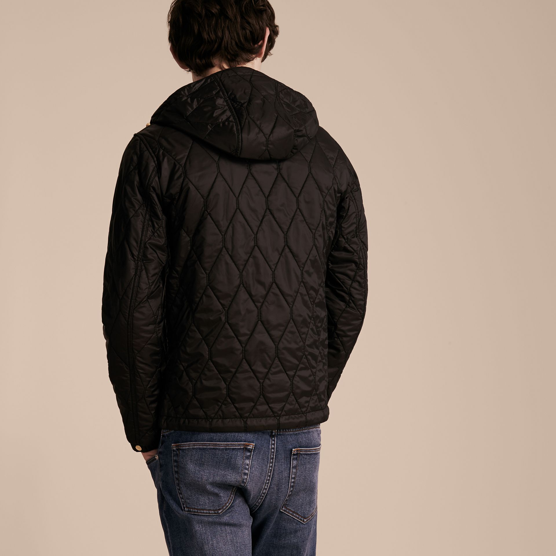 Black Hooded Lightweight Quilted Jacket - gallery image 3