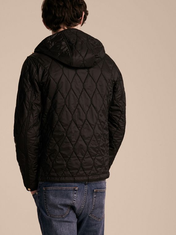 Black Hooded Lightweight Quilted Jacket - cell image 2