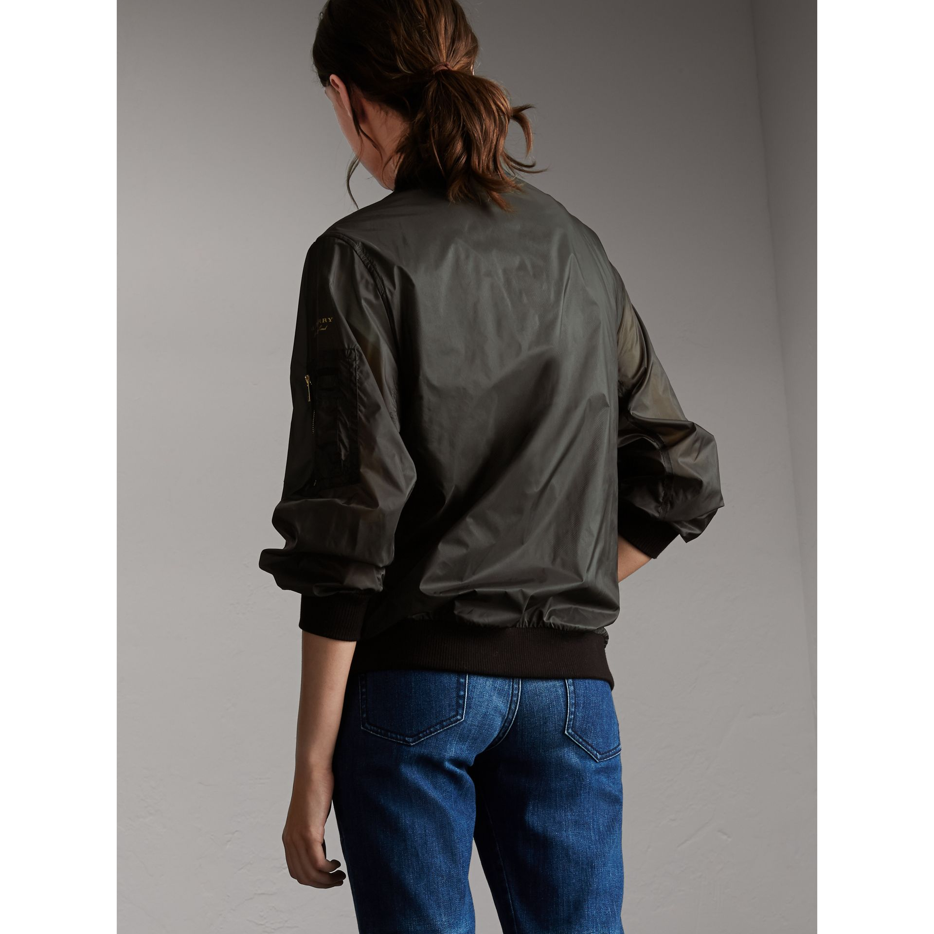Lightweight Bomber Jacket in Vintage Green - Women | Burberry - gallery image 3