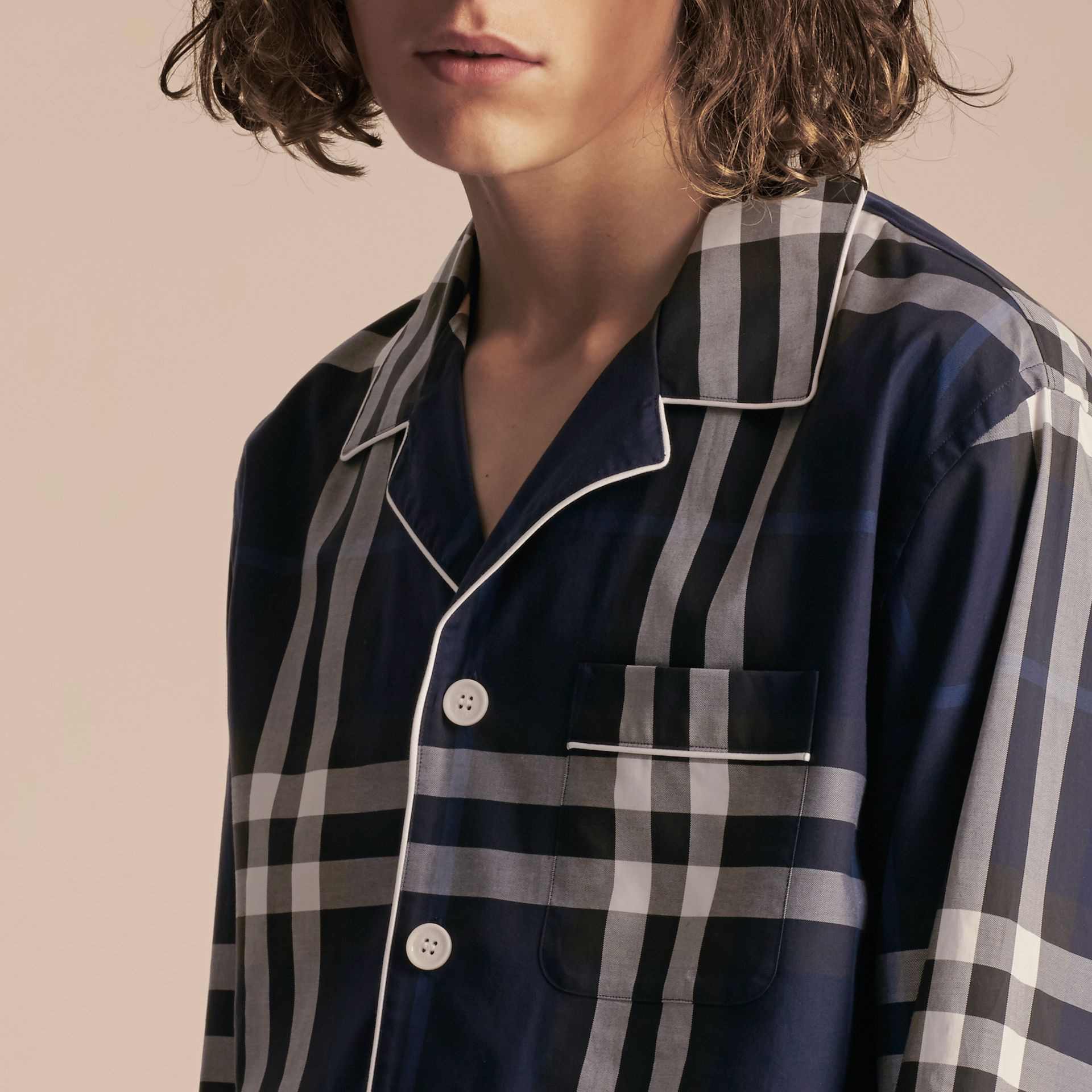 Indigo blue Check Cotton Pyjama-style Shirt Indigo Blue - gallery image 5