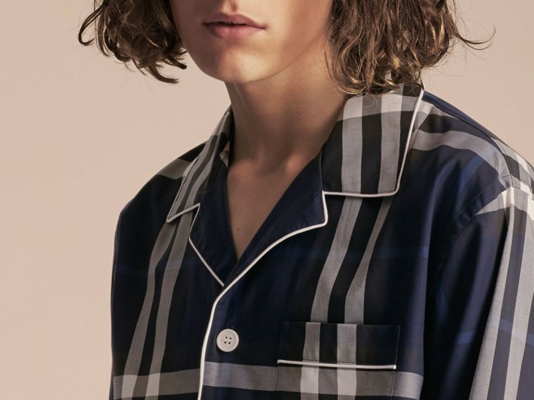 Indigo blue Check Cotton Pyjama-style Shirt Indigo Blue - cell image 4