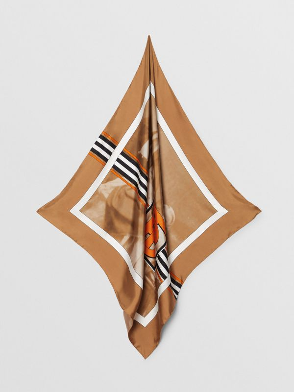 Victorian Portrait Print Silk Square Scarf in Brick Red | Burberry Australia - cell image 3