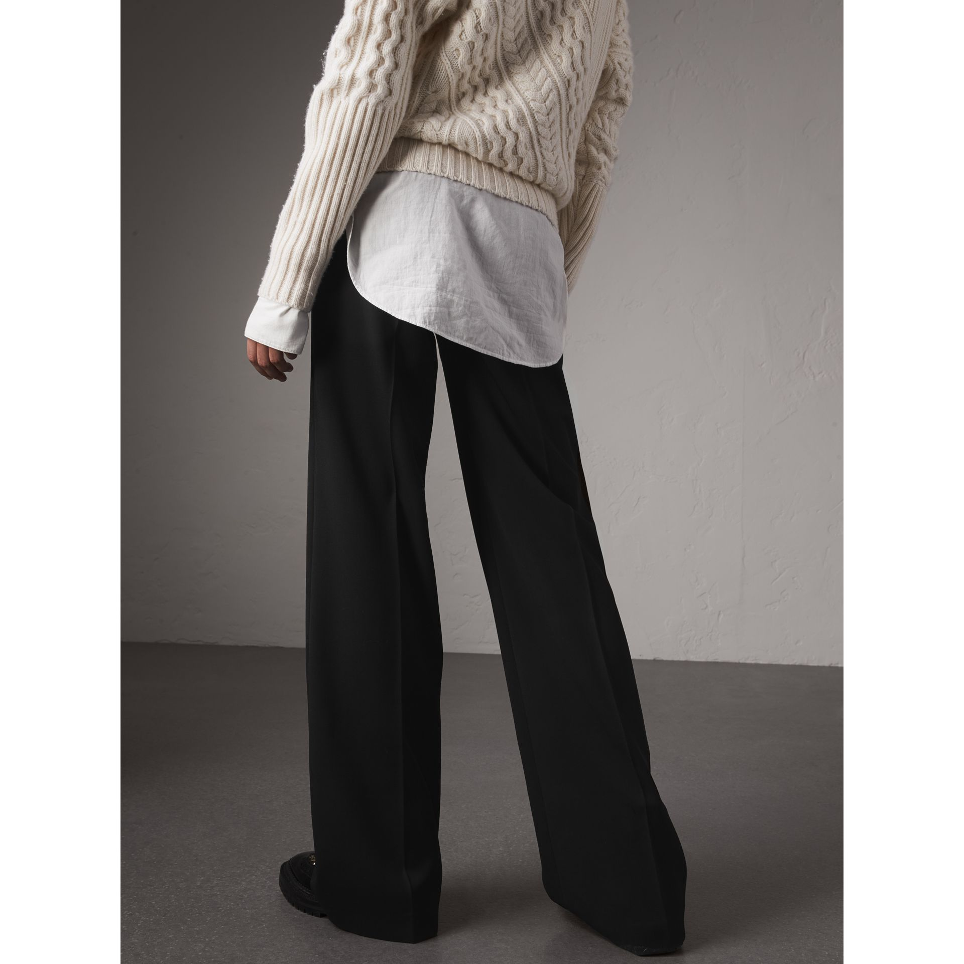 Wool Wide-leg Trousers in Black - Women | Burberry Hong Kong - gallery image 3