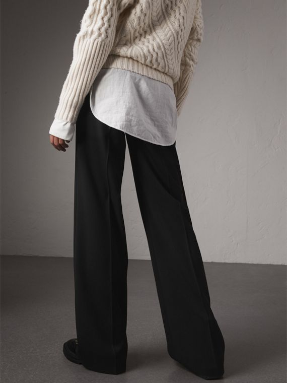 Wool Wide-leg Trousers in Black - Women | Burberry Hong Kong - cell image 2