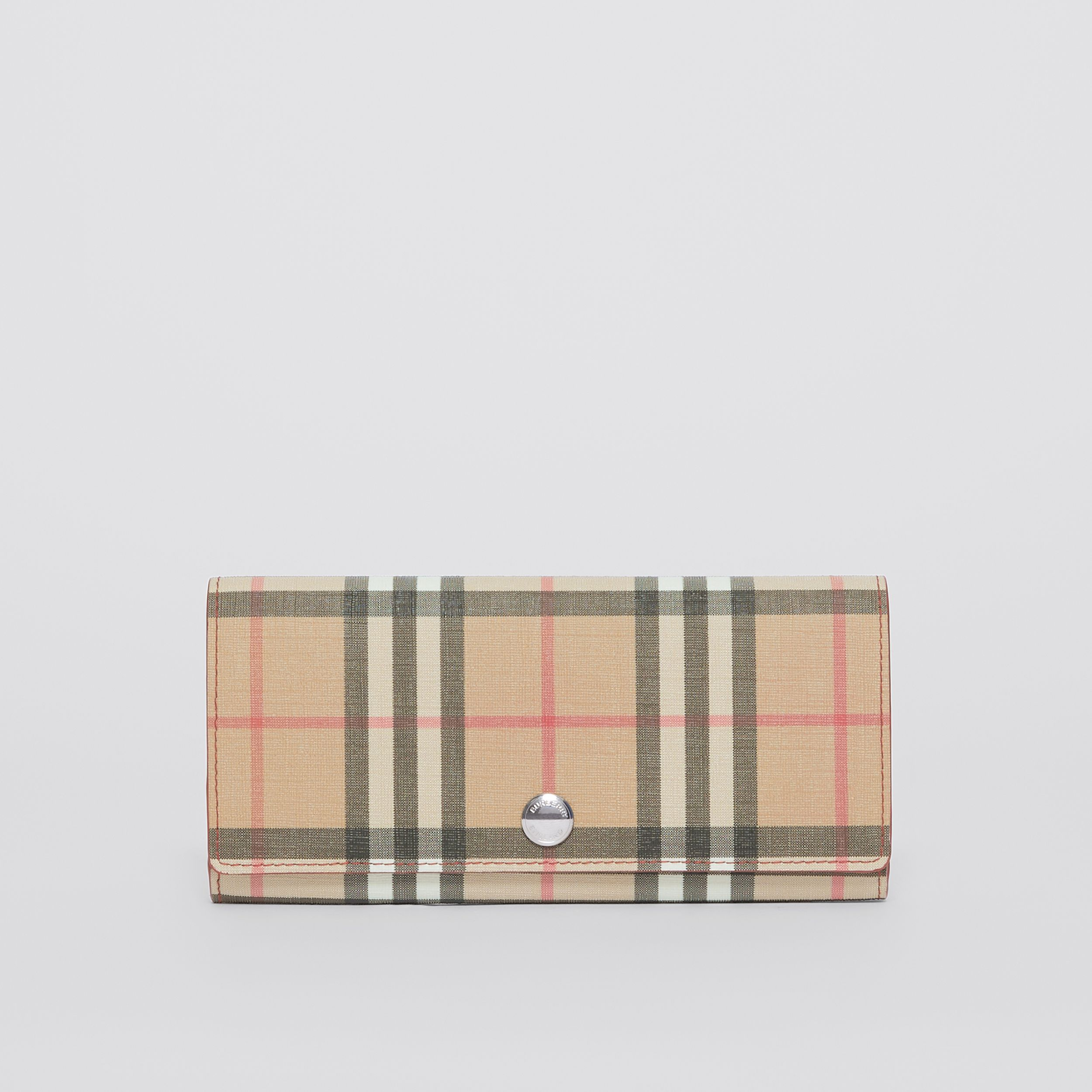 Vintage Check E-canvas and Leather Continental Wallet in Bright Military Red - Women | Burberry - 1