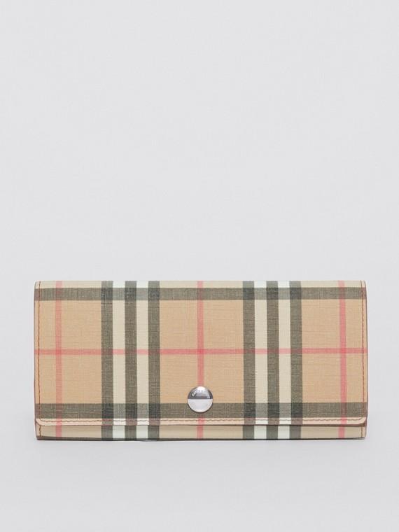Carteira continental de couro e lona ecológica em Vintage Check (Vermelho Militar Intenso)