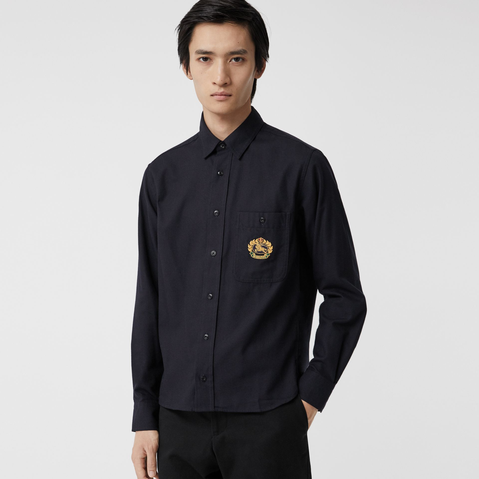 Embroidered Crest Flannel Shirt in Dark Navy - Men | Burberry Singapore - gallery image 0
