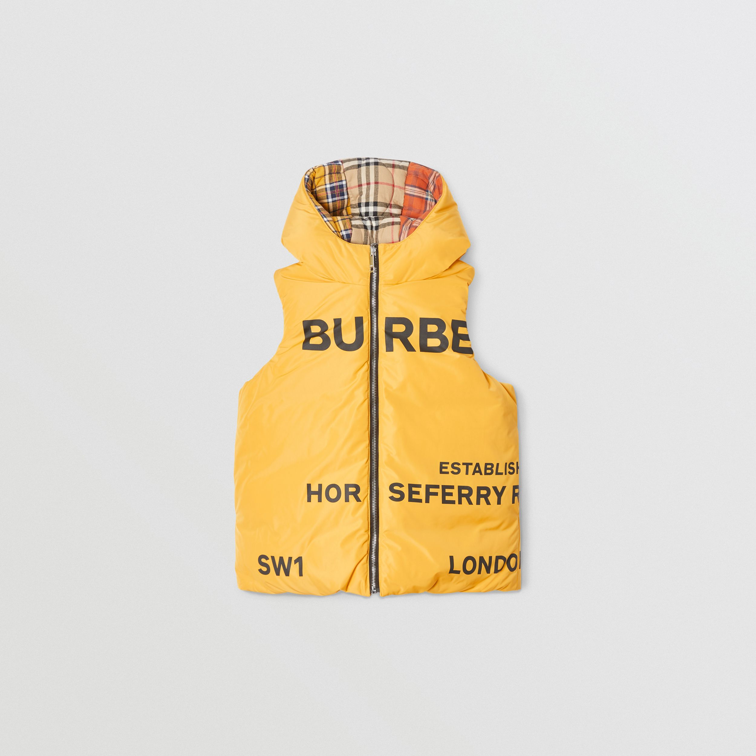 Reversible Horseferry Print Shape-memory Taffeta Gilet in Souwester Yellow | Burberry United States - 1