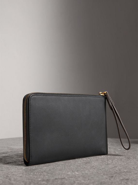 Two-tone Trench Leather Travel Wallet in Black - Men | Burberry Singapore - cell image 2