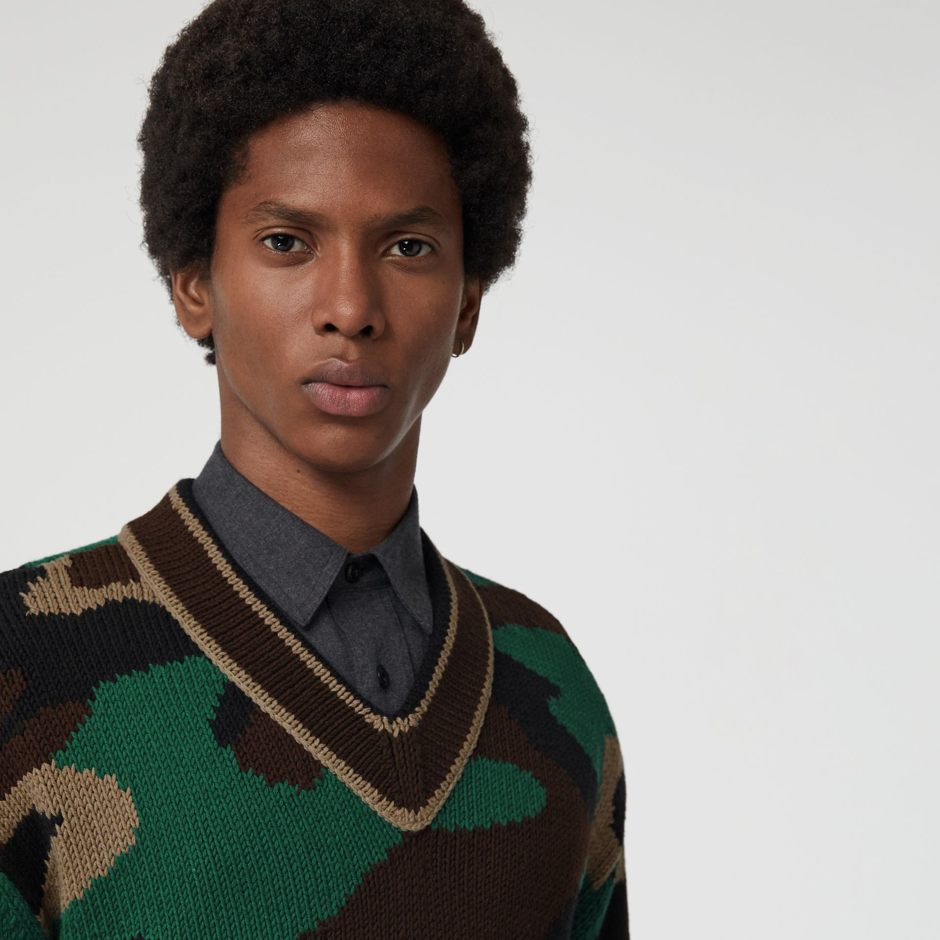 Camouflage Intarsia Cotton Blend Sweater in Forest Green - Men | Burberry - gallery image 1