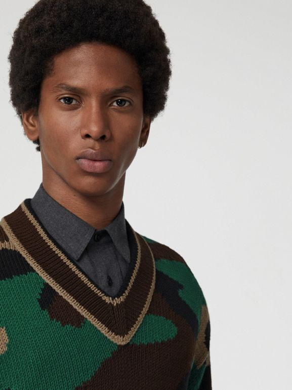 Camouflage Intarsia Cotton Blend Sweater in Forest Green - Men | Burberry United Kingdom - cell image 1