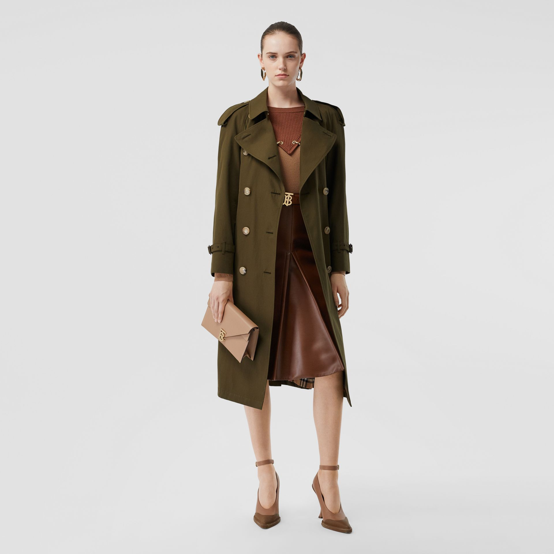 The Long Westminster Heritage Trench Coat in Dark Military Khaki - Women | Burberry Singapore - gallery image 6