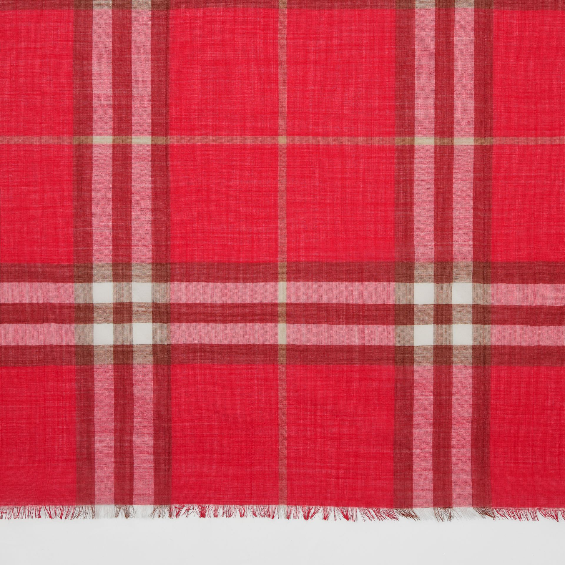 Lightweight Check Wool Silk Scarf in Bright Red | Burberry - gallery image 1