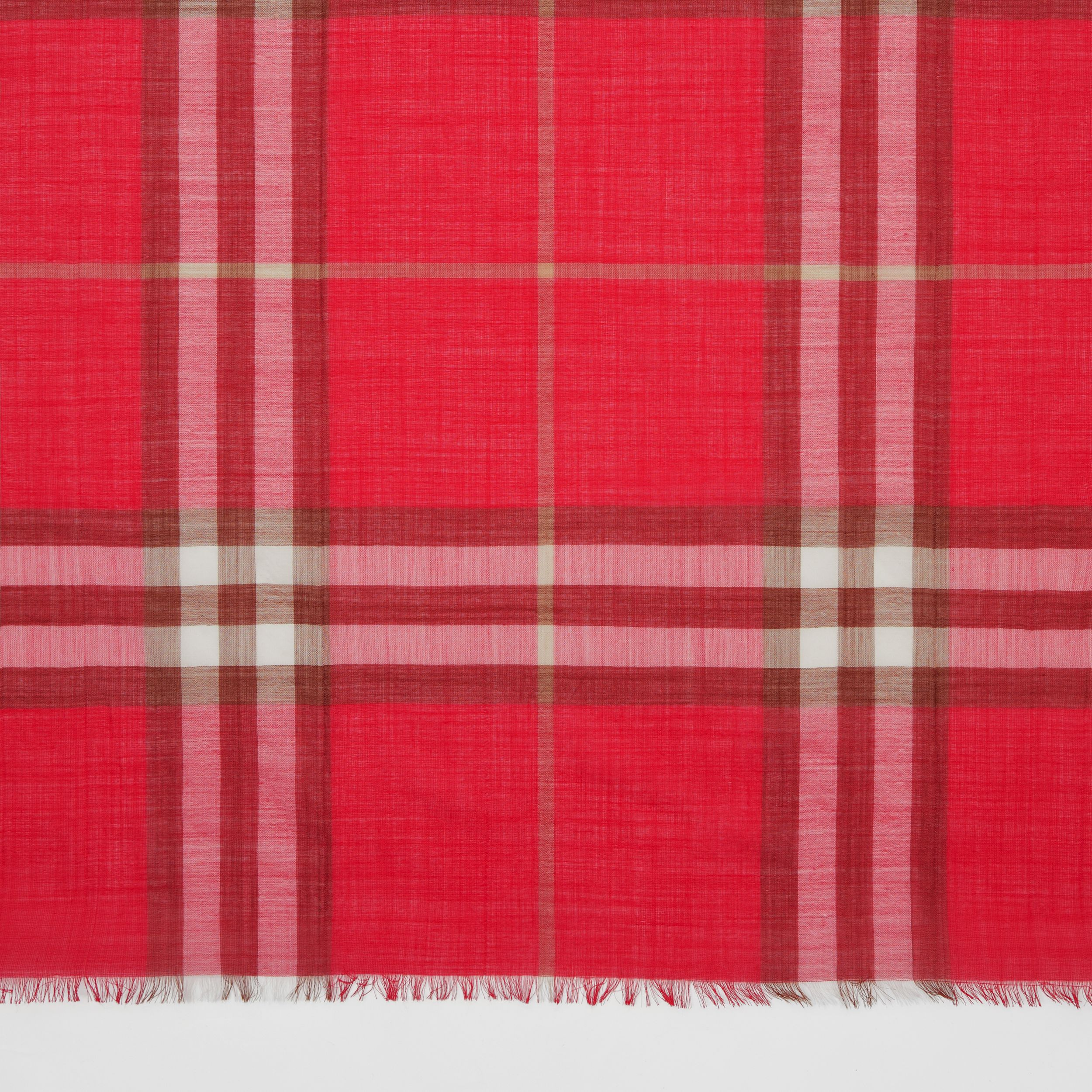 Lightweight Check Wool Silk Scarf in Bright Red | Burberry Australia - 2