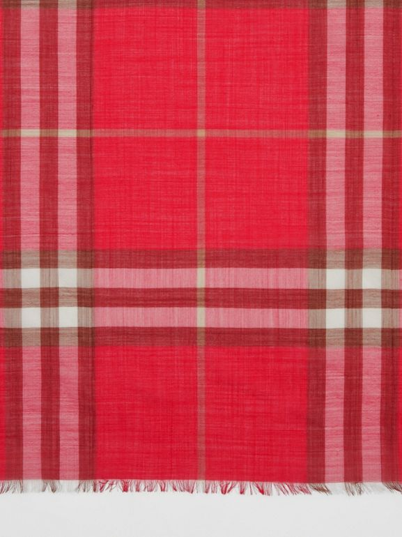Lightweight Check Wool Silk Scarf in Bright Red | Burberry - cell image 1