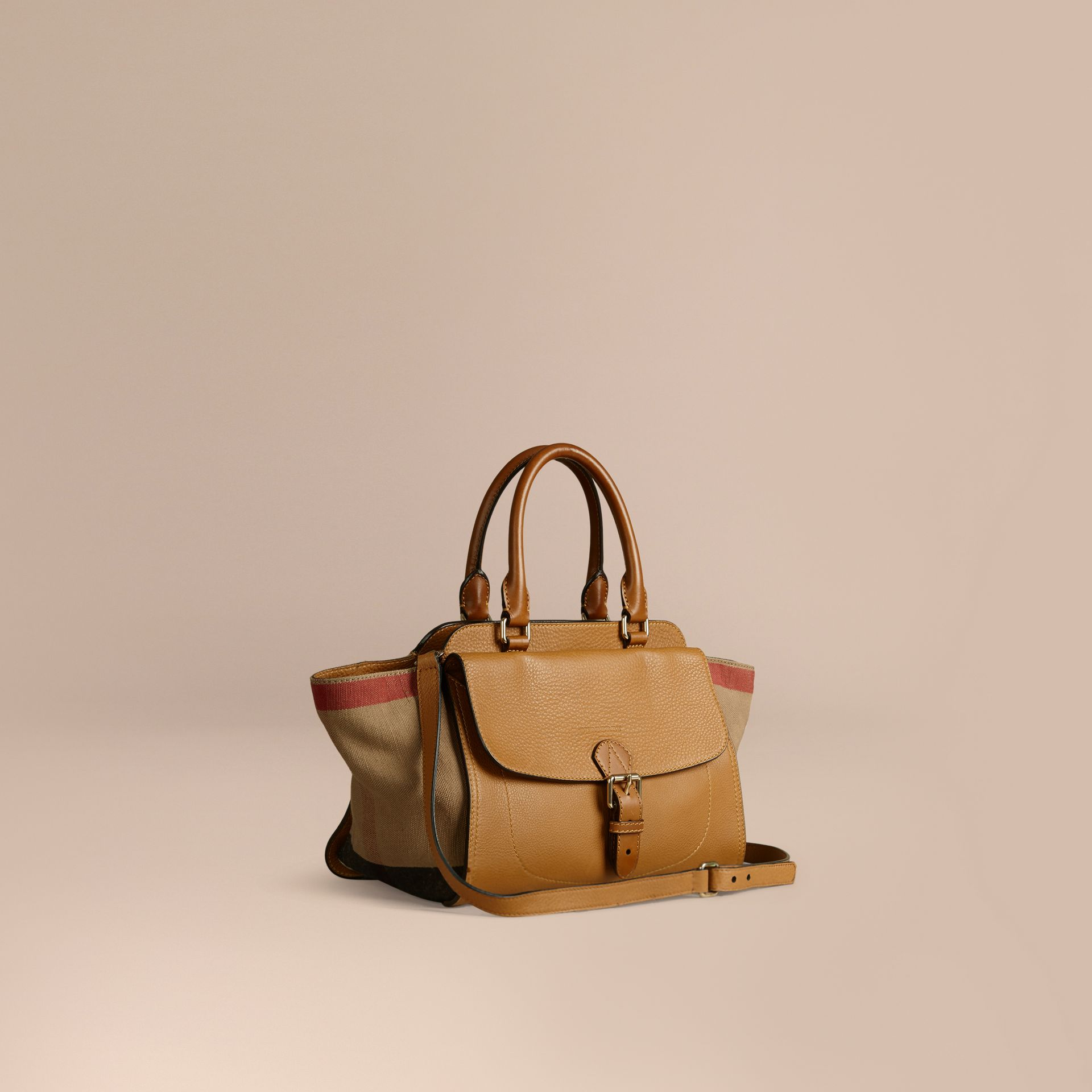 Saddle brown Medium Canvas Check and Leather Tote Bag - gallery image 1