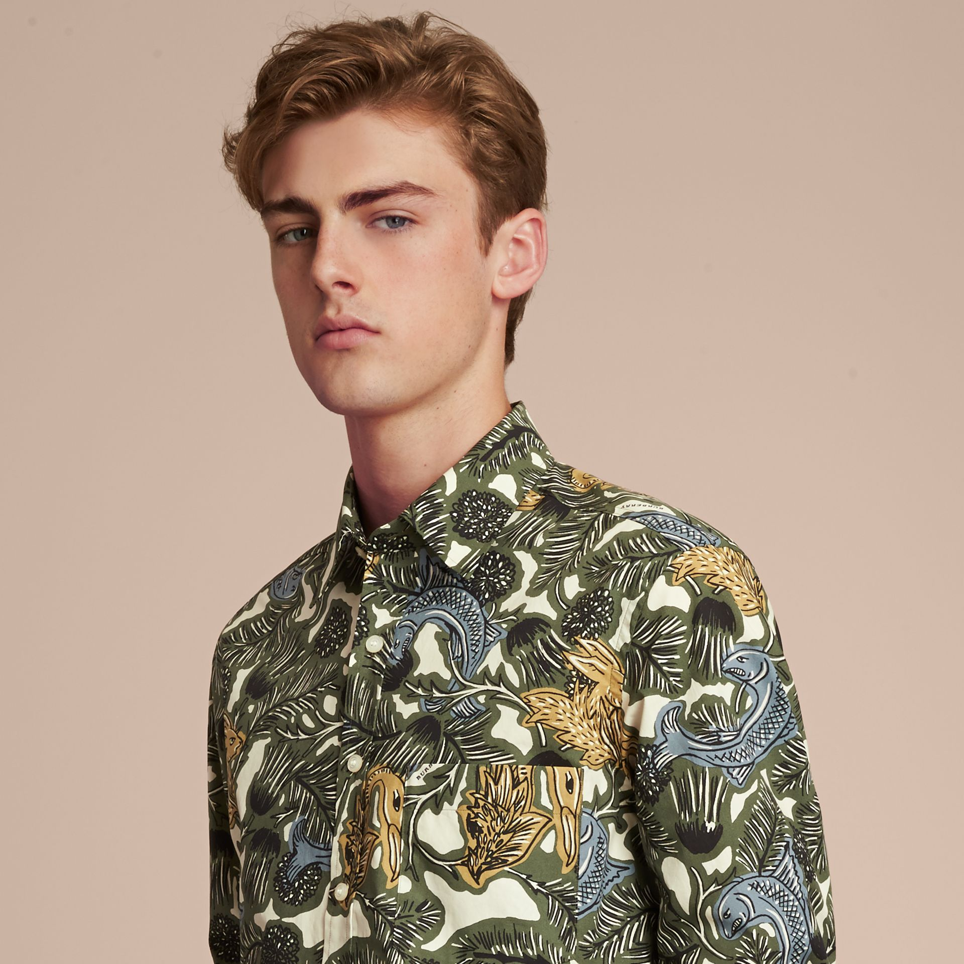 Beasts Print Cotton Poplin Longline Shirt in Sage Green - gallery image 5