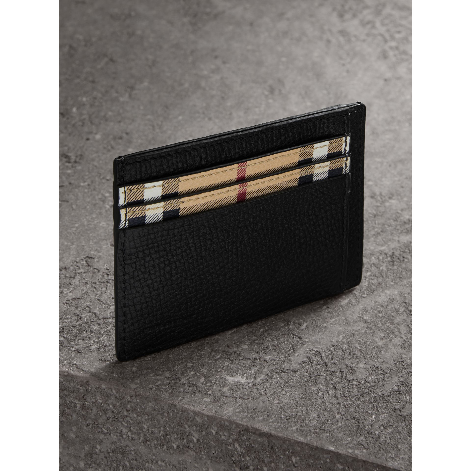 Haymarket Check and Leather Card Case in Black - Men | Burberry - gallery image 2