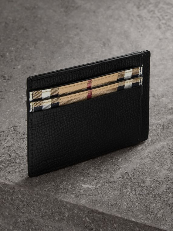 Haymarket Check and Leather Card Case in Black - Men | Burberry - cell image 2
