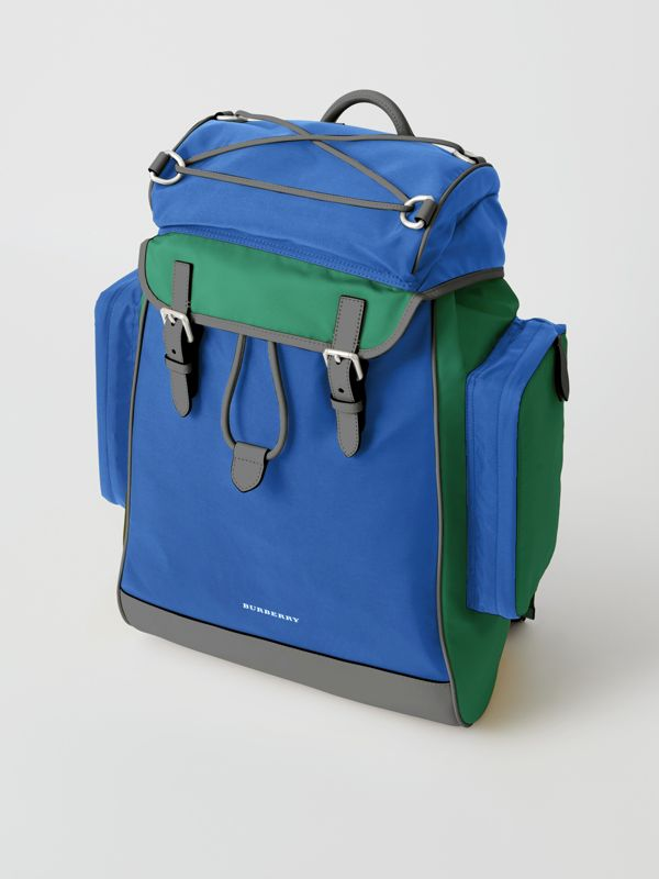 Tri-tone Nylon and Leather Backpack in Dark Canvas Blue - Men | Burberry - cell image 2