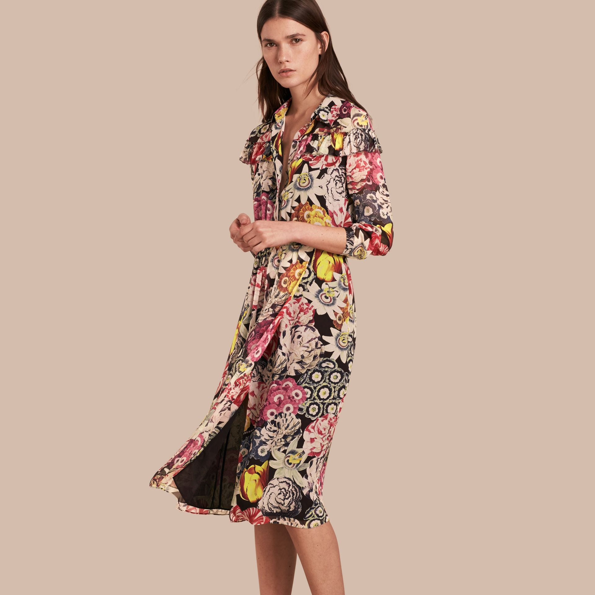 Black Painterly Floral Print Silk Georgette Frill Detail Dress - gallery image 1