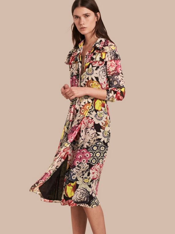 Painterly Floral Print Silk Georgette Frill Detail Dress