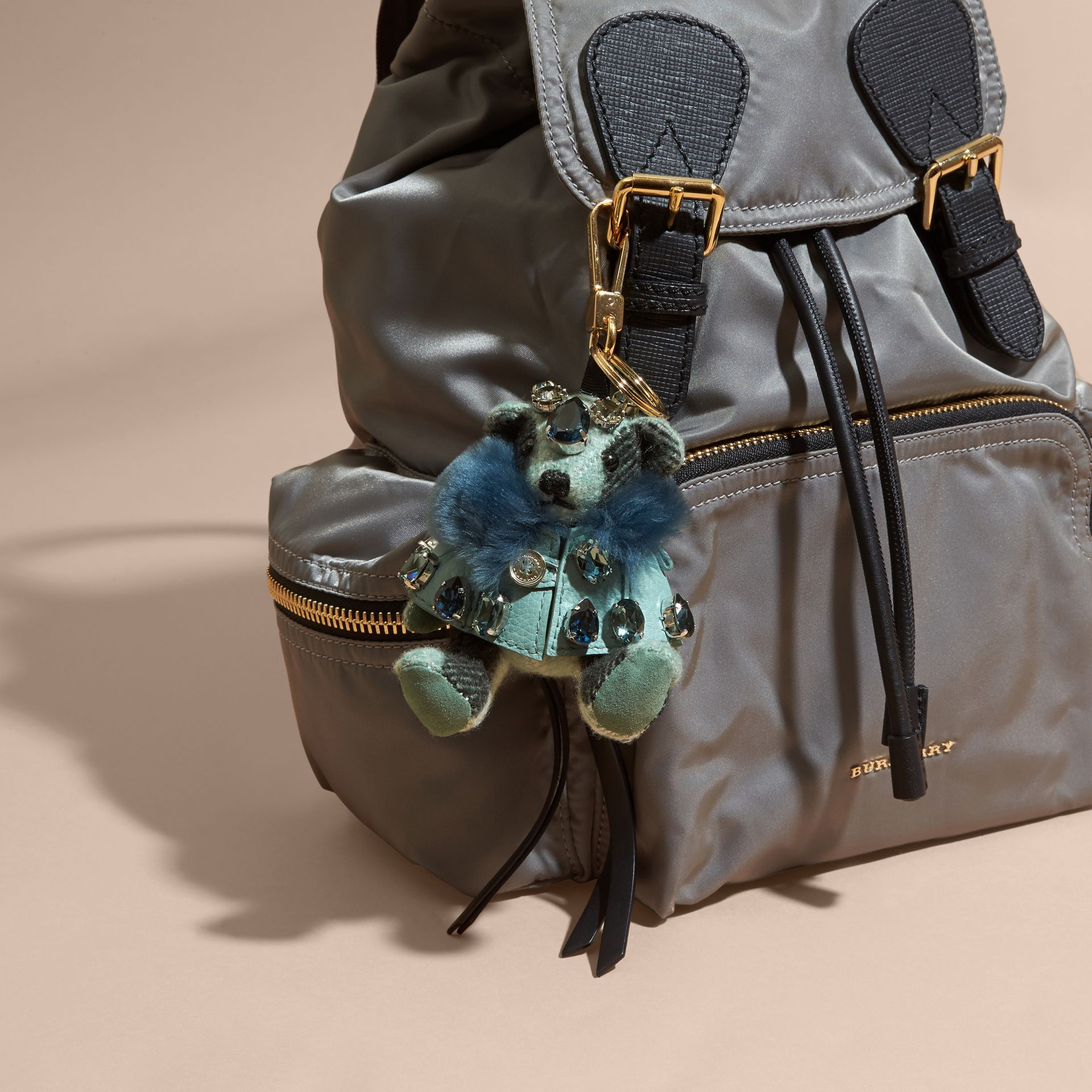 Thomas Bear Charm with Cape and Crystals in Light Mint - Women | Burberry - gallery image 2