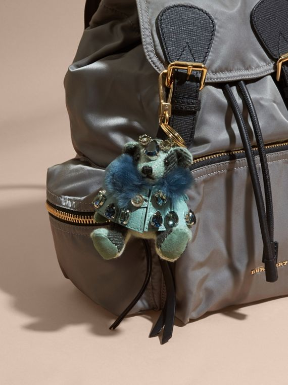 Thomas Bear Charm with Cape and Crystals in Light Mint - Women | Burberry - cell image 2