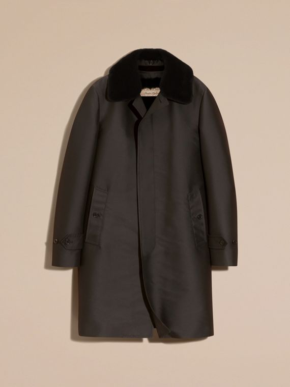 Green black Car Coat with Rabbit Warmer and Mink Topcollar - cell image 3
