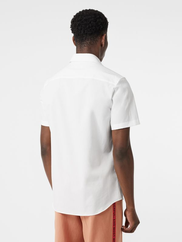 Short-sleeve Monogram Motif Stretch Cotton Shirt in White - Men | Burberry - cell image 2