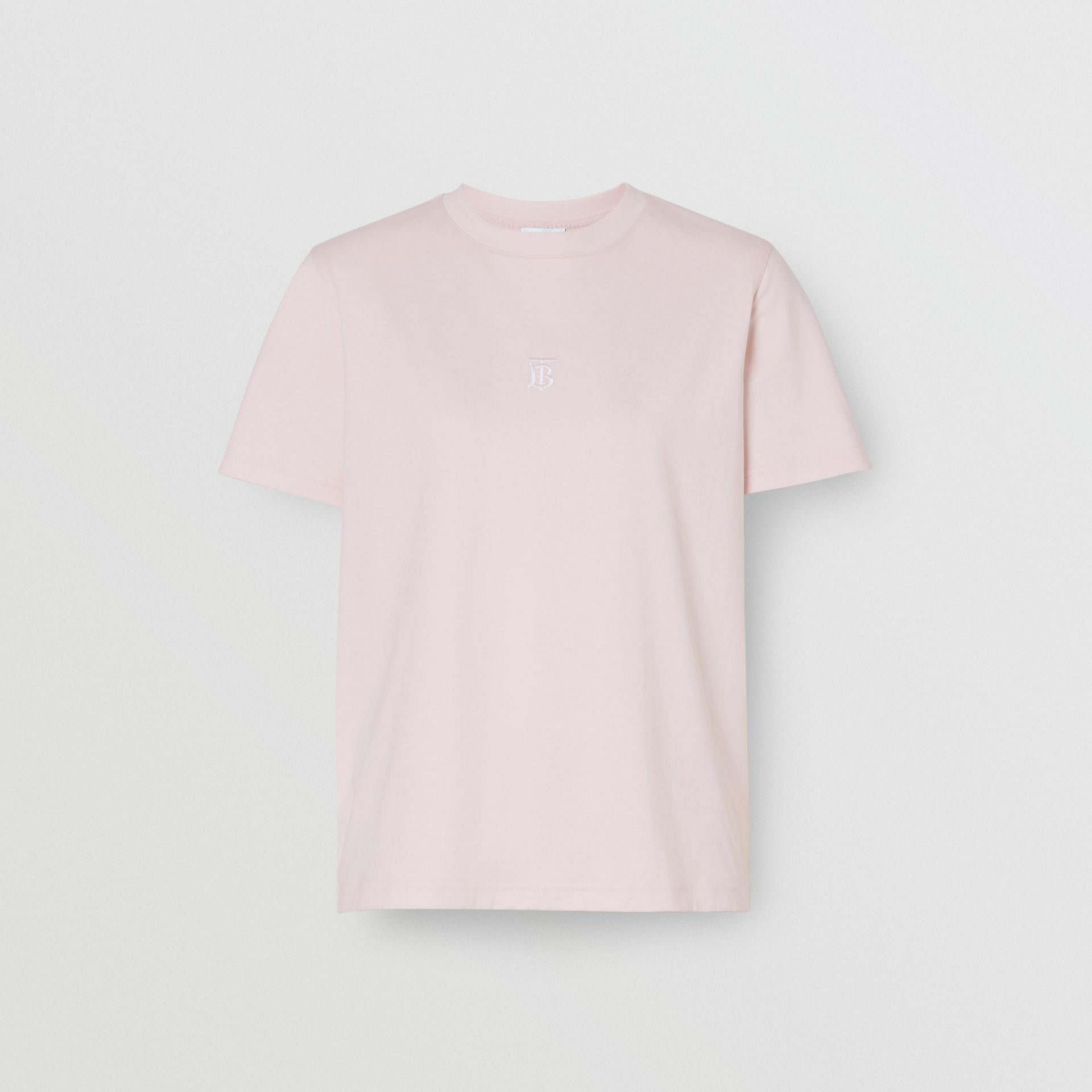 Monogram Motif Cotton T-shirt in Alabaster Pink - Women | Burberry - gallery image 3