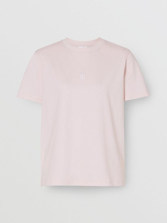 Monogram Motif Cotton T-shirt in Alabaster Pink