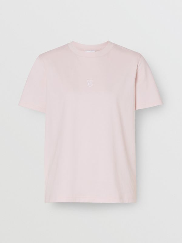 Monogram Motif Cotton T-shirt in Alabaster Pink - Women | Burberry - cell image 3