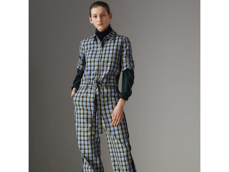 Check Cotton Silk Jumpsuit in Azure Blue - Women | Burberry - cell image 4