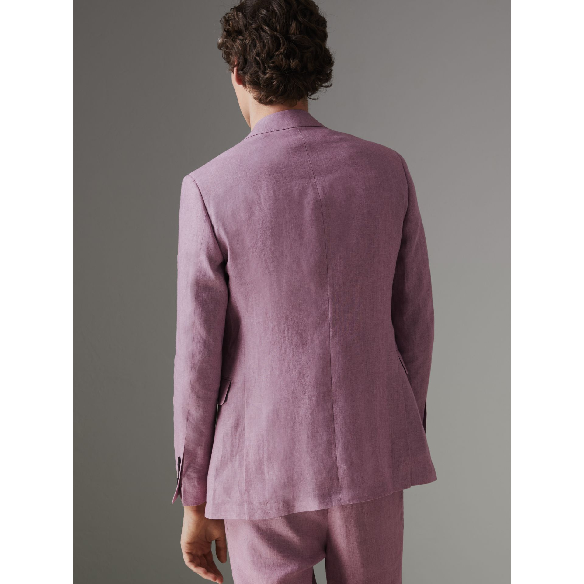 Soho Fit Linen Tailored Jacket in Pink Heather - Men | Burberry Australia - gallery image 2