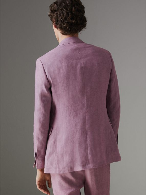 Soho Fit Linen Tailored Jacket in Pink Heather - Men | Burberry - cell image 2