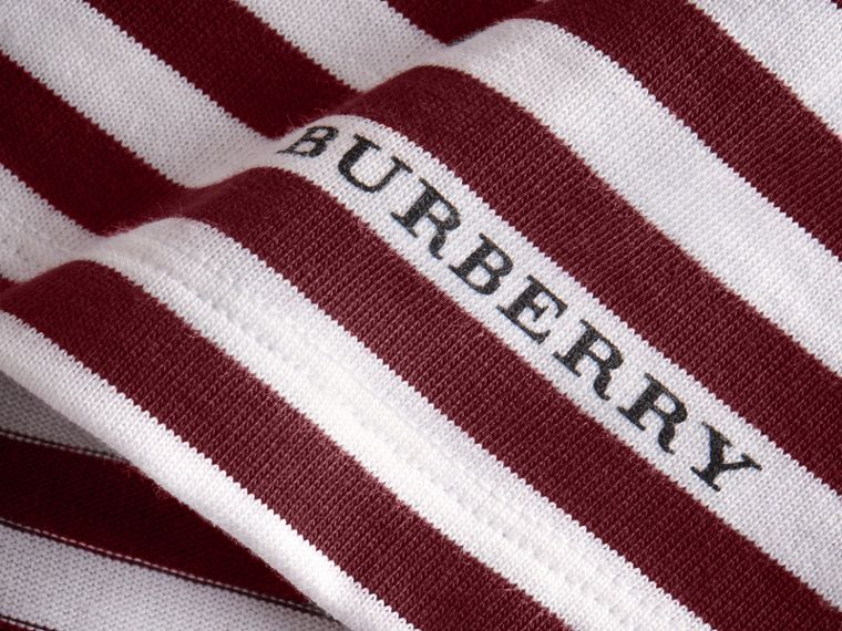 Lace Appliqué Detail Breton Stripe Cotton T-shirt in Burgundy/white - Men | Burberry Canada - cell image 1