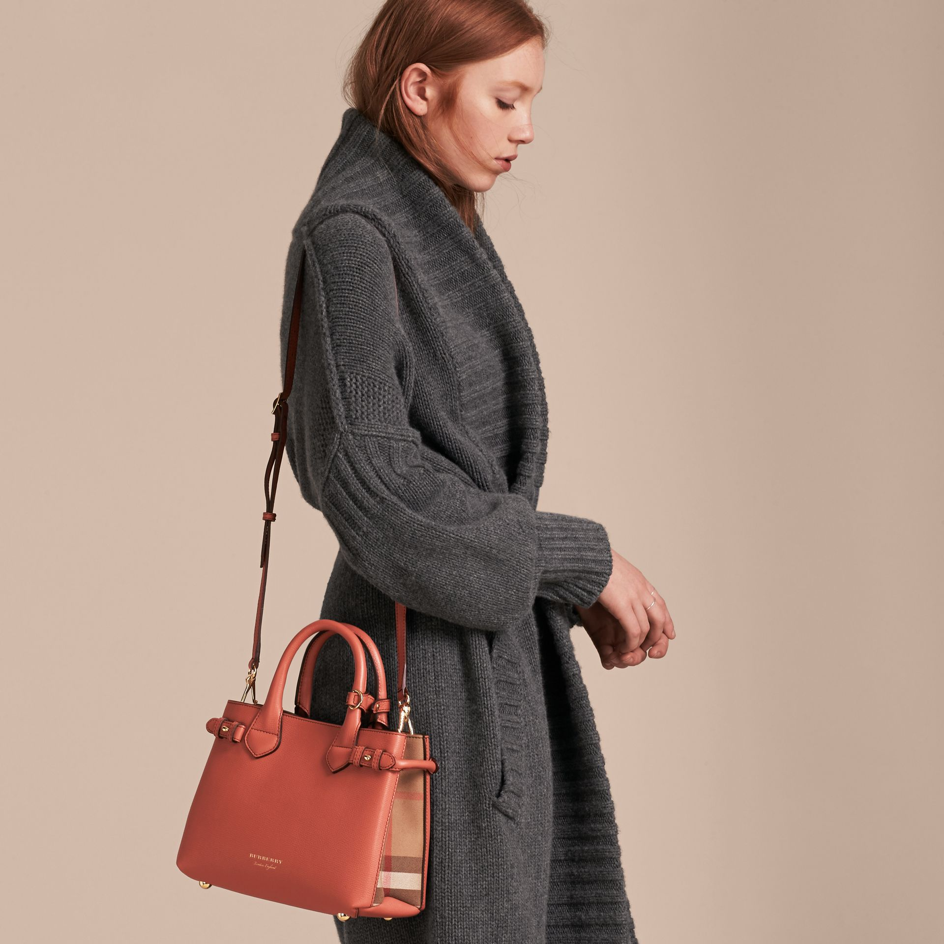 The Small Banner in Leather and House Check in Cinnamon Red - Women | Burberry - gallery image 4