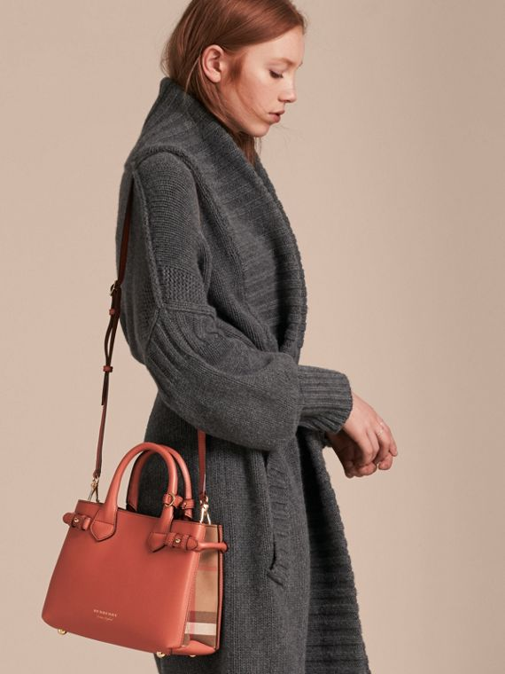 The Small Banner in Leather and House Check in Cinnamon Red - Women | Burberry - cell image 3