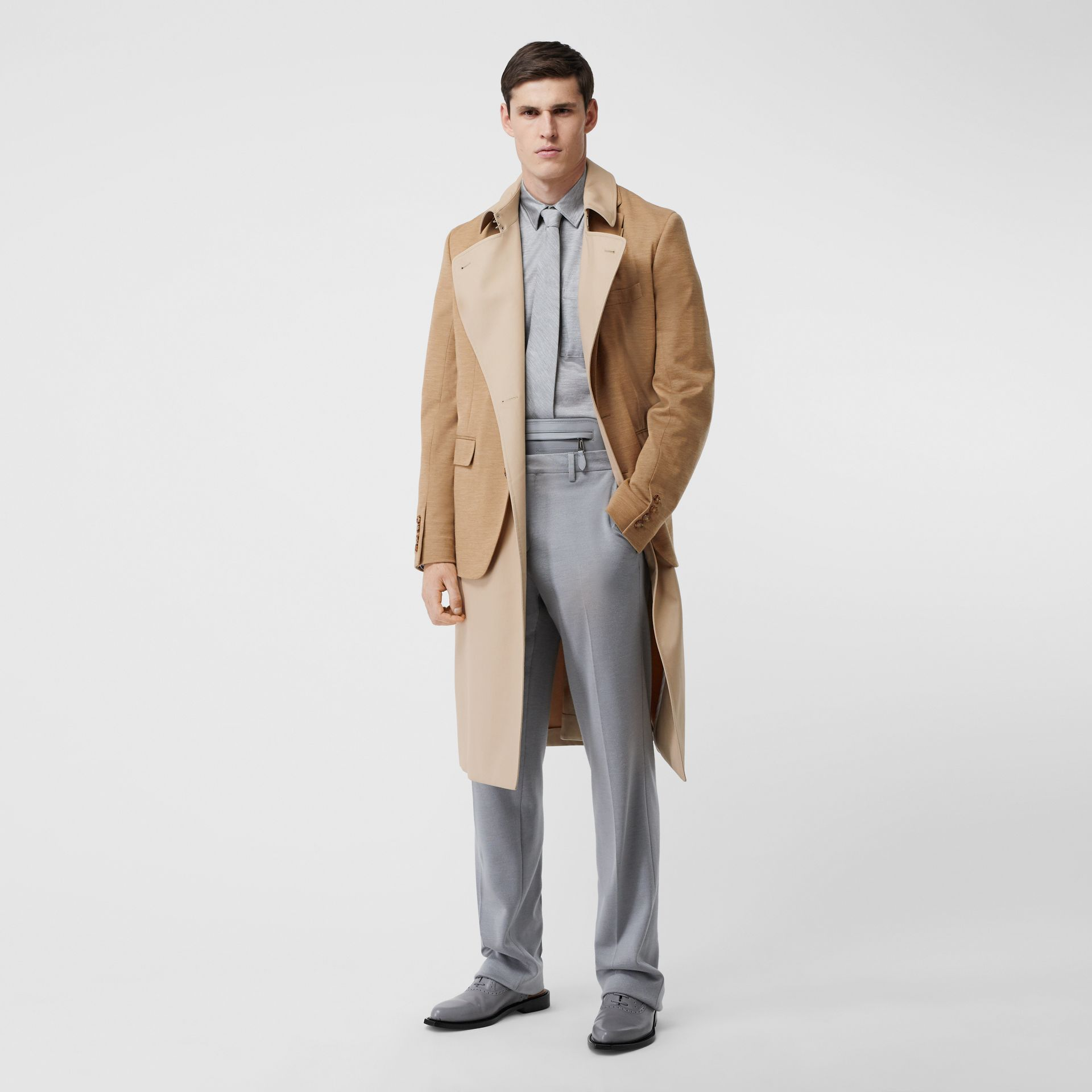 Blazer Detail Cotton Twill Reconstructed Trench Coat in Soft Fawn - Men | Burberry - gallery image 0