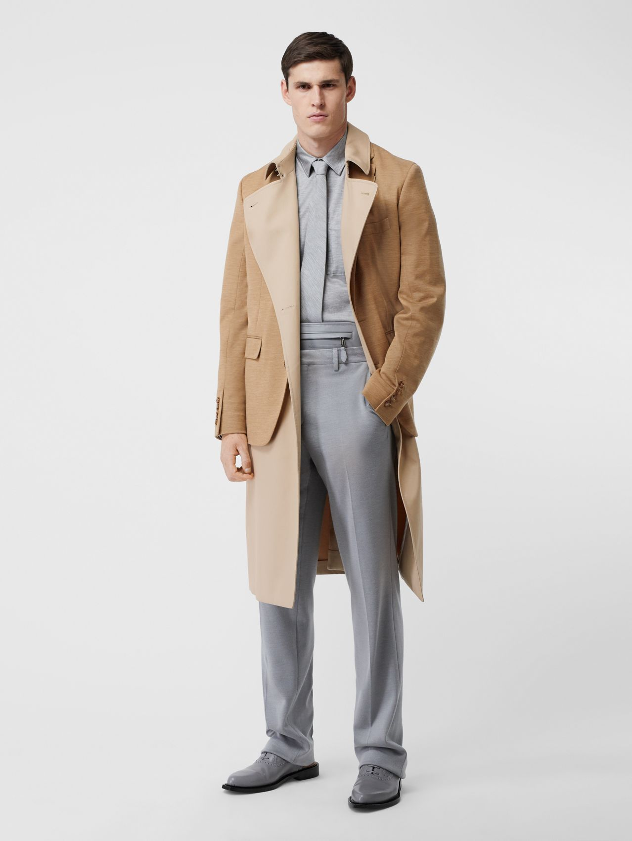 Blazer Detail Cotton Twill Reconstructed Trench Coat in Soft Fawn
