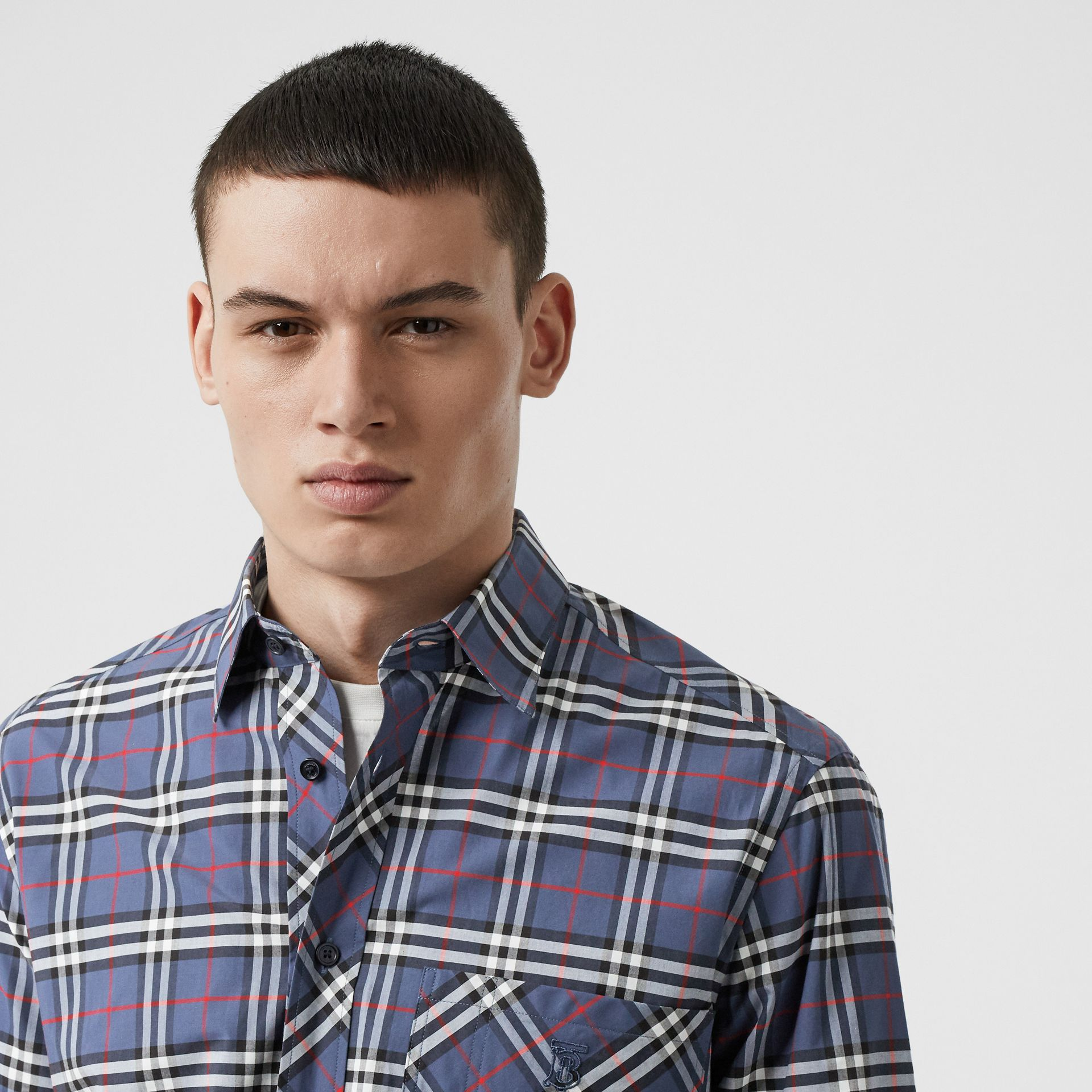 Small Scale Check Stretch Cotton Shirt in Carbon Blue - Men | Burberry - gallery image 1
