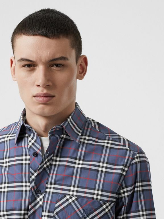 Small Scale Check Stretch Cotton Shirt in Carbon Blue - Men | Burberry - cell image 1