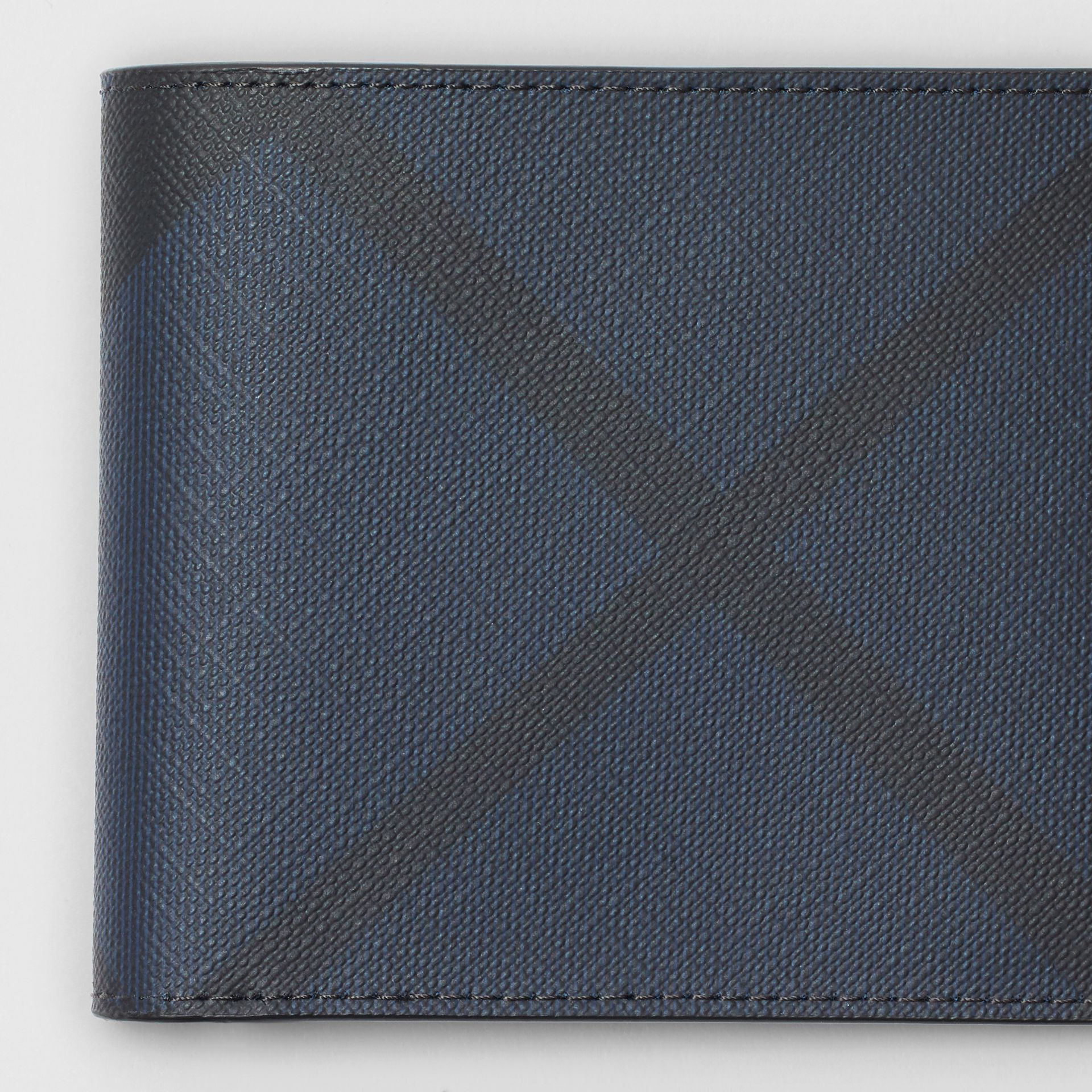 London Check and Leather International Bifold Wallet in Navy/black - Men | Burberry United Kingdom - gallery image 1