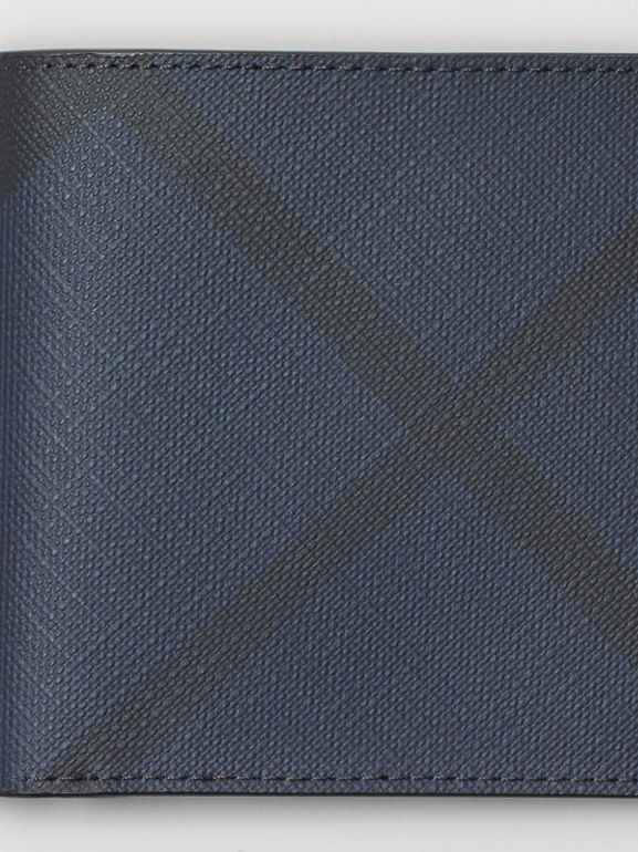 London Check and Leather International Bifold Wallet in Navy/black - Men | Burberry United Kingdom - cell image 1