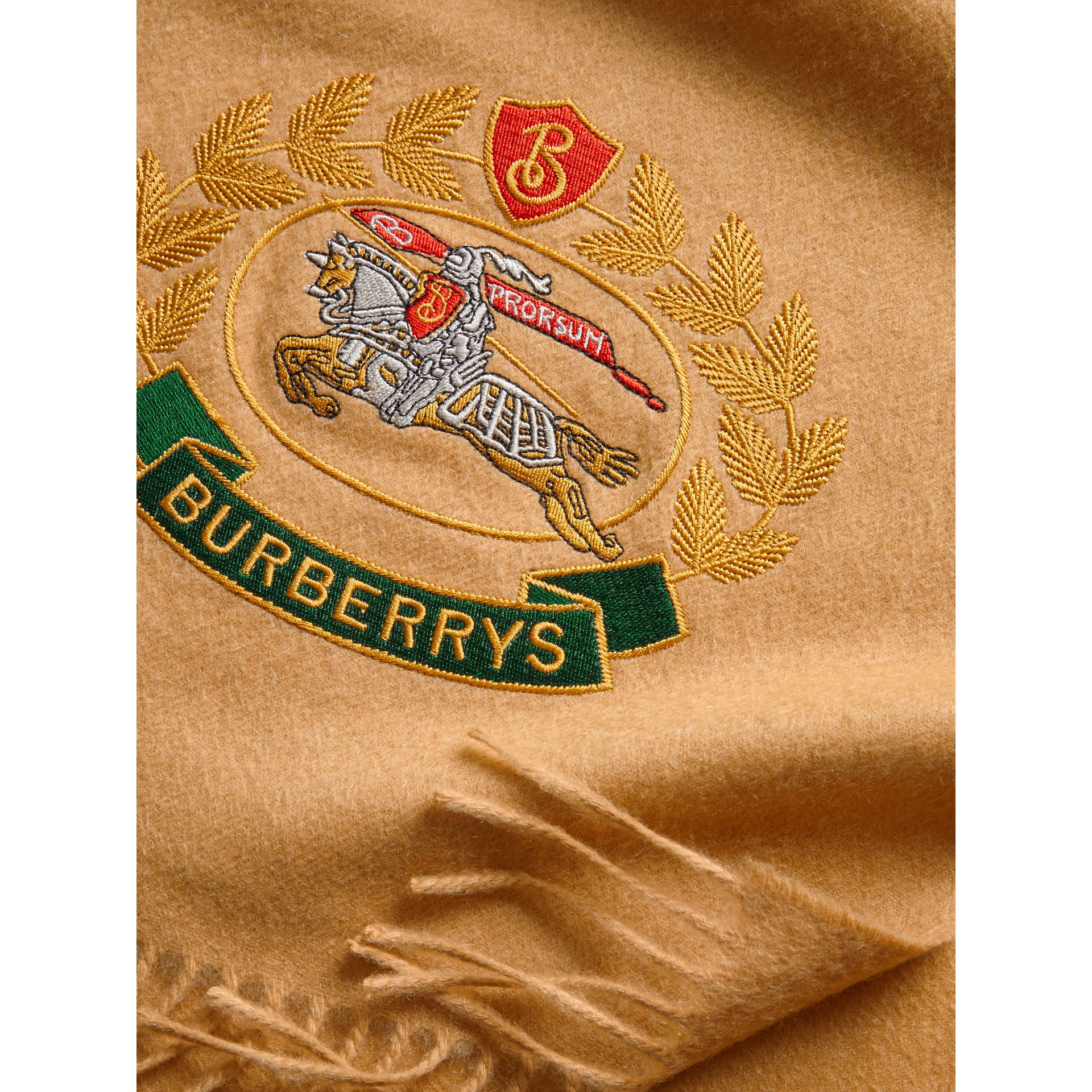 The Classic Cashmere Scarf with Archive Logo in Antique Yellow | Burberry United Kingdom - gallery image 1