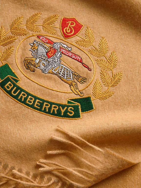 The Classic Cashmere Scarf with Archive Logo in Antique Yellow | Burberry Australia - cell image 1