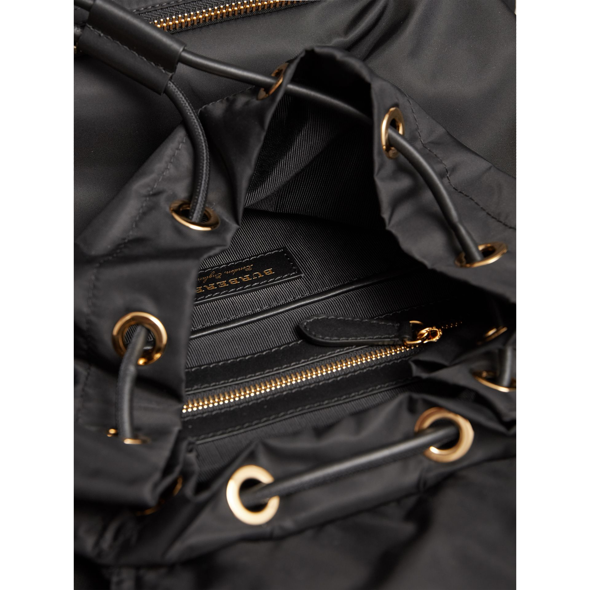 The Large Rucksack in Technical Nylon and Leather in Black - Women | Burberry United Kingdom - gallery image 4